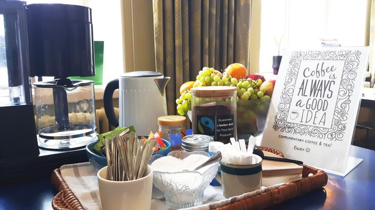 Buffet breakfast at a Finnish hostel on a UNESCO Heritage Site