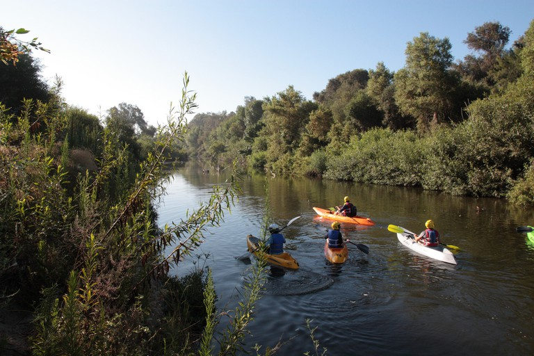 The Los Angeles river is open for kayaking during the summer.