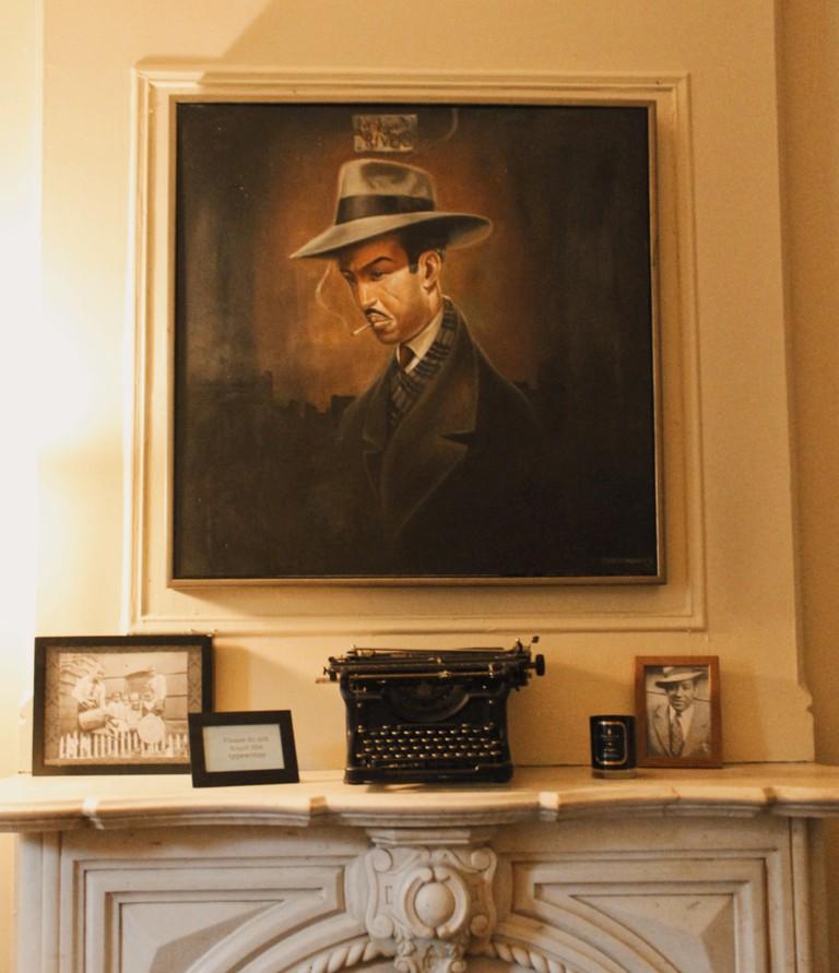 Langston Hughes Portrait and Typewriter