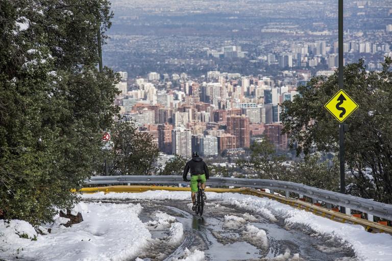 Cyclist on Santiago's Cerro San Cristo