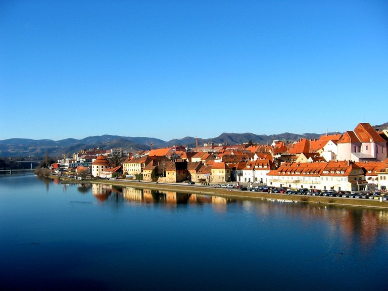 The view of Maribor from Drava river