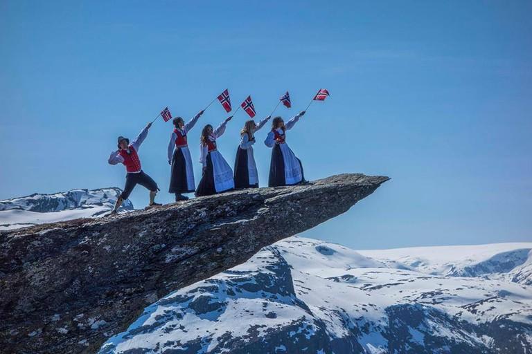 May 17 celebrations on top of Trolltunga