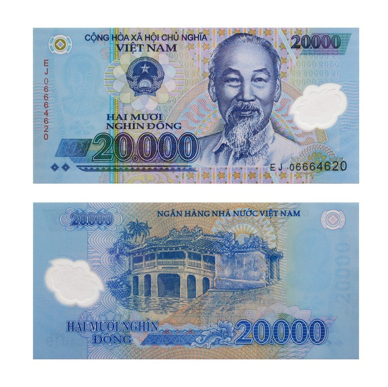 The front and back of a 20,000 đồng note
