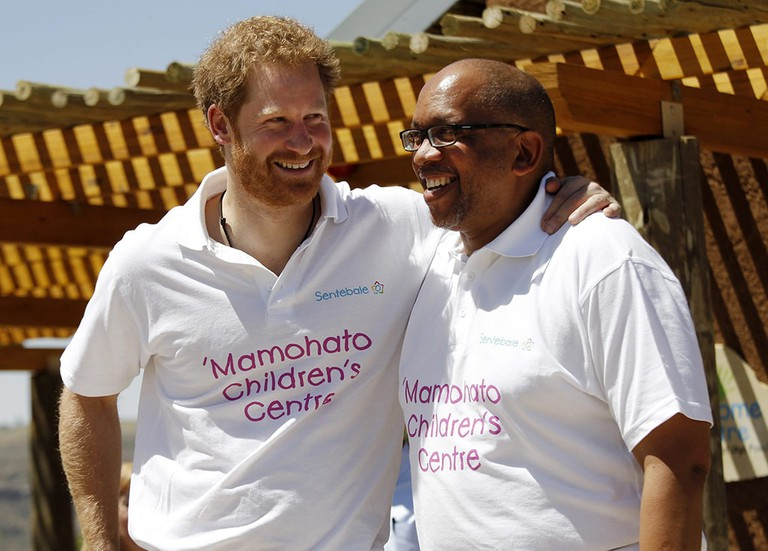 Britain's Prince Harry chats with Prince Seeiso of Lesotho