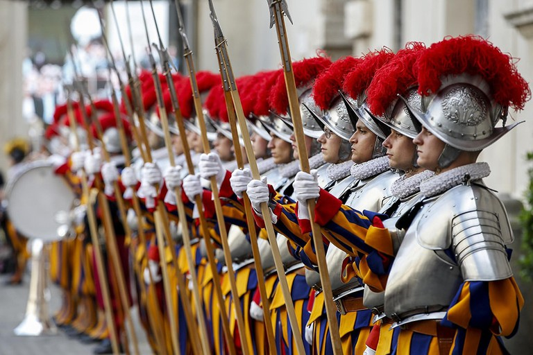 New recruits of the Vatican's elite Swiss Guard attend the swearing-in ceremony at the Vatican