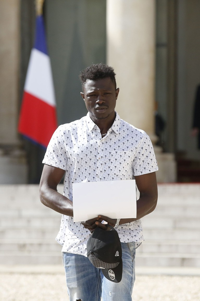 Mamoudou Gassama at Elysee Palace, Paris, France