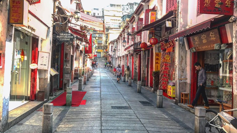 This famous street in Macau is now lined with small eateries and souvenir shops