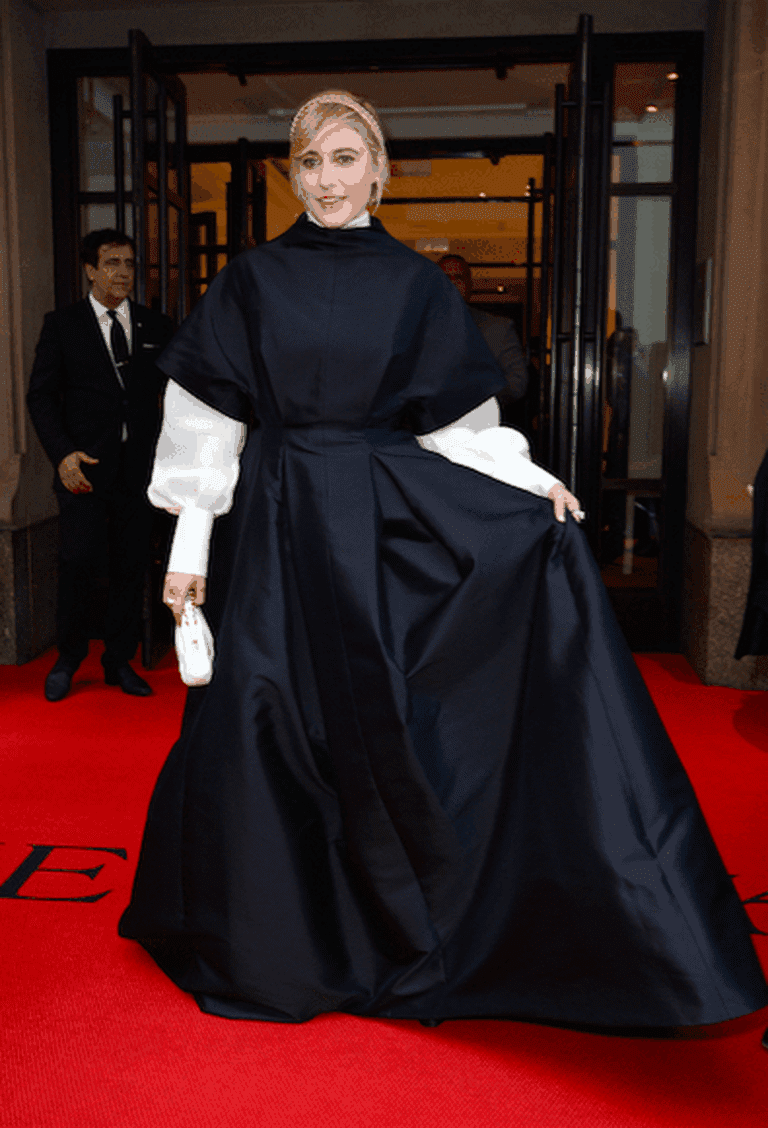 Greta Gerwig in The Row's gown at The Mark's after-party for the Met Gala, 2018. This year's theme was 'Fashion and the Catholic Imagination,' but this looks bears a striking resemblance to an LDS prairie dress