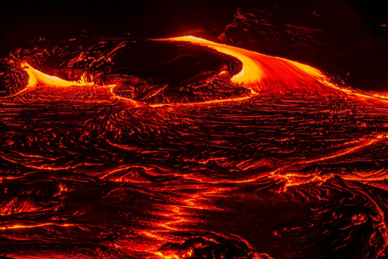 Lava advancing from Kilauea