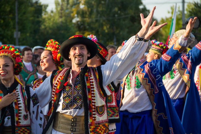 Dancers in Ukrainian traditional clothing during Festival of National Cultures Tavriyska rodyna