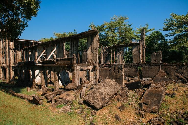 Historic Pacific war memorial Army barracks ruins Corregidor Island, Manila, Philippines