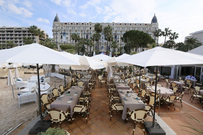 The view from the beach of the Carlton Hotel, Cannes, France