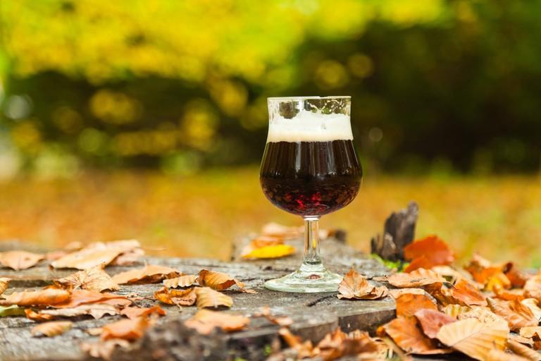 Glass of dark bock beer