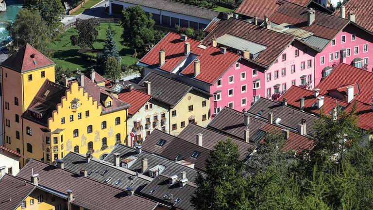 Colourful buildings along old Roman route in Austria across the Alps