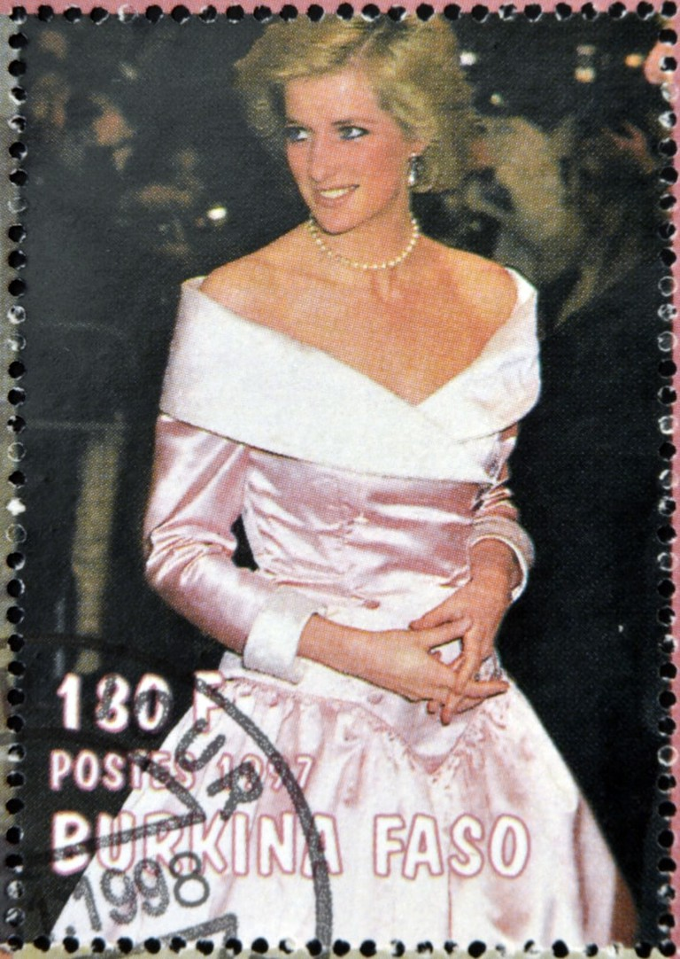 A stamp printed in Burkina Faso shows Diana of Gales
