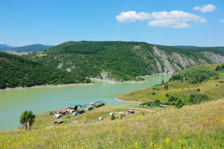 Camping on the Uvac River at the beginning of same name canyon, Serbia
