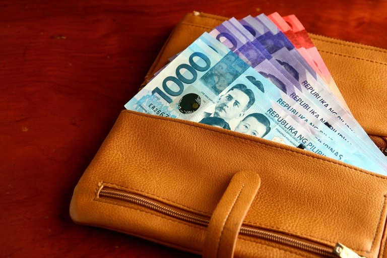 Money in a leather wallet