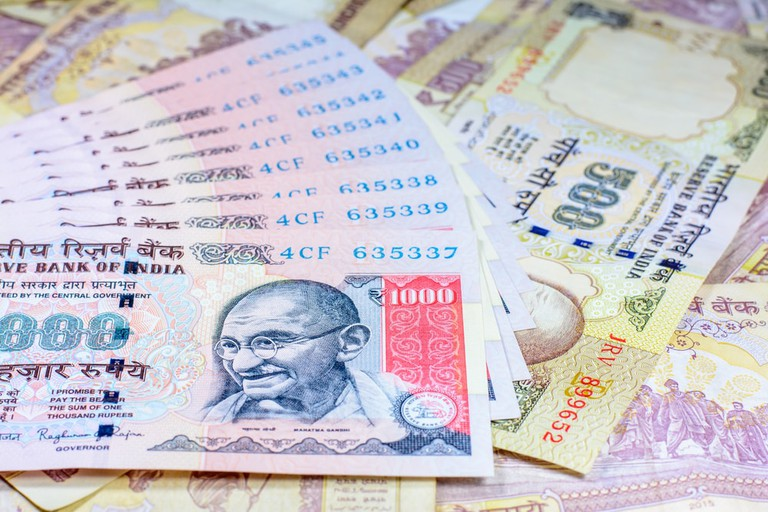 500 and 1000 banknotes of indian rupee currency