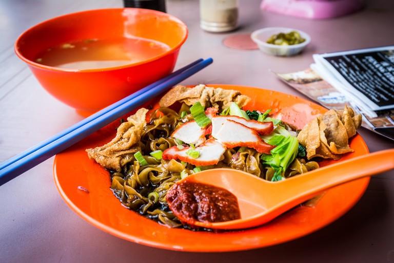 Wan Thun Mee, Malaysian BBQ pork noodle, in Georgetown, Penang, Malaysia