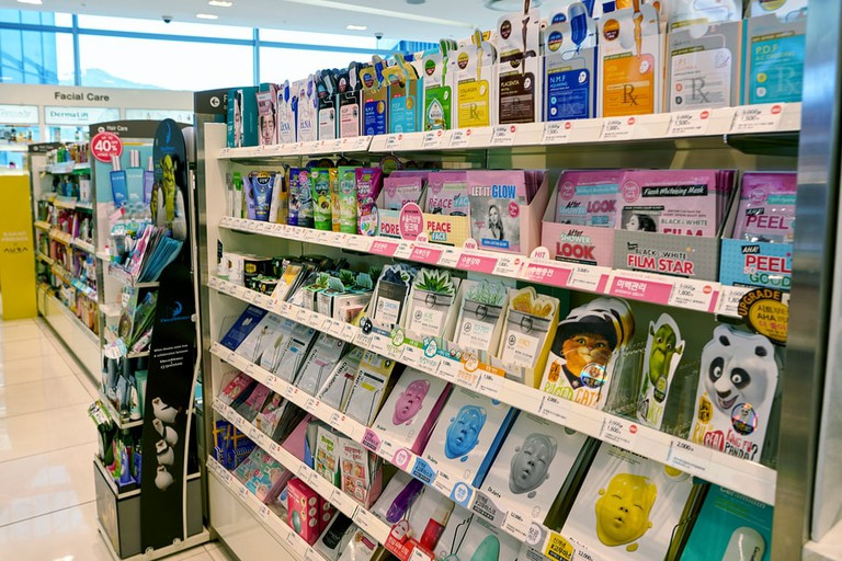 Cosmetic products on display at Lotte Department Store in Busan, South Korea