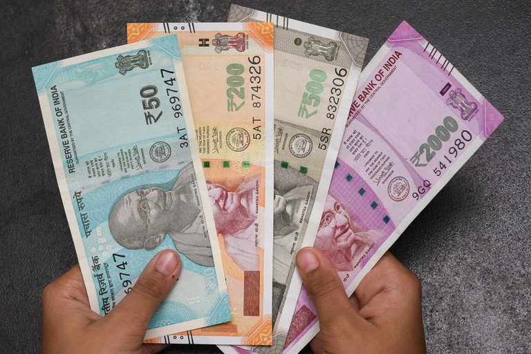 The brand new Indian currency bank notes of 50, 200, 500 and 2000 rupees