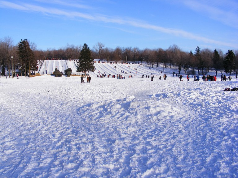 Skiing on Mont Royal, Montreal
