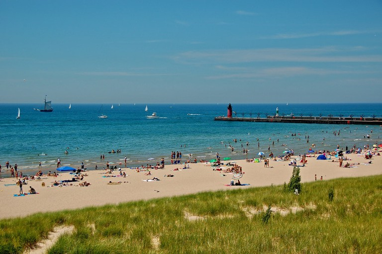 South Haven's beach could almost pass for a more tropical location, its waters are so blue.