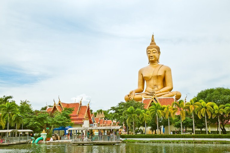 The beautiful Wat Pikun Thong in Singburi, Thailand