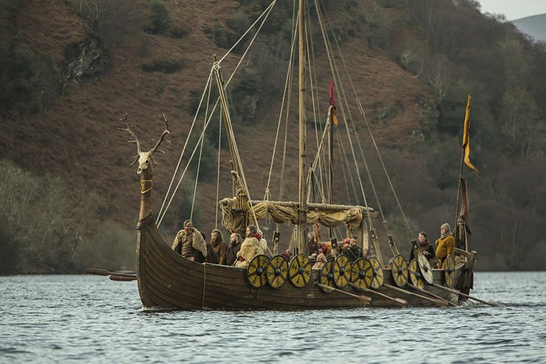 Vikings on their way to a raid as depicted by History Channel's Vikings