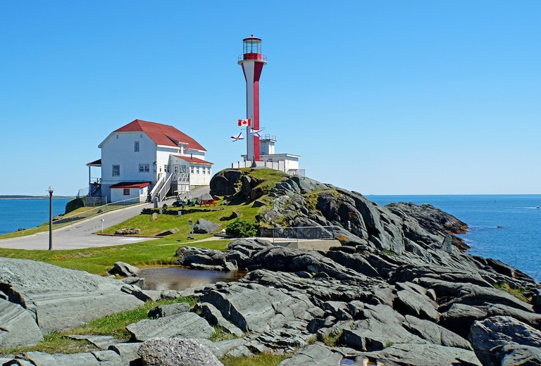 The Cape Forchu Lighthouse in Yarmouth Harbour, Nova Scotia
