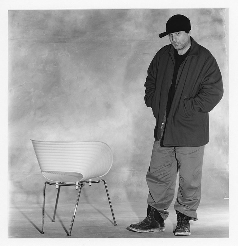 Ron Arad with his Tom Vac Chair