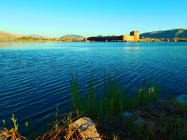 Lake Butrint is connected to the Ionian Sea by the Vivari Channel