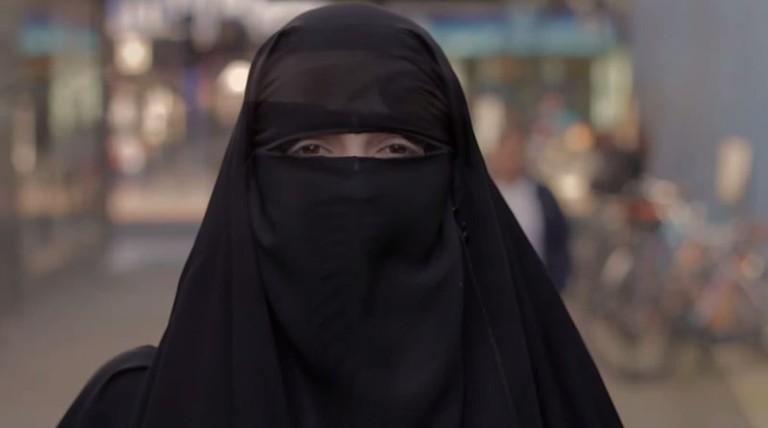 Muslim woman wearing a niqab