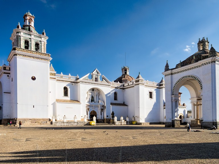 Copacabana's Mudejar-style cathedral dominates the town's central plaza