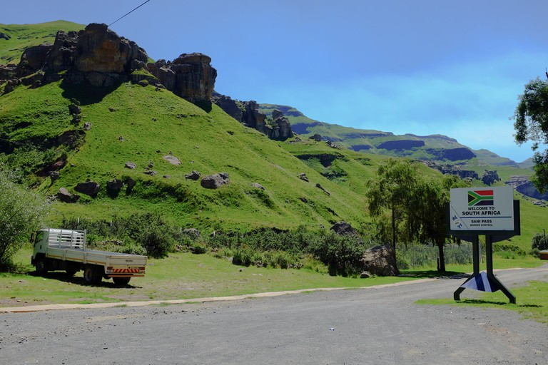 Approaching the Sani Pass border post in Lesotho