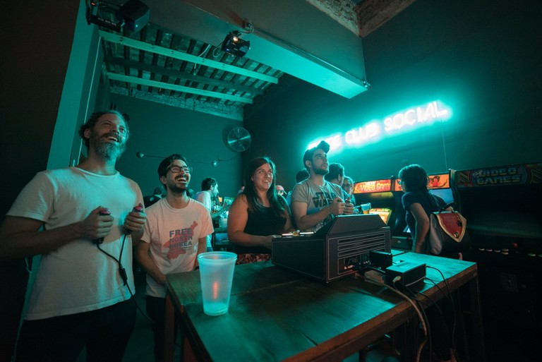 At the Arcade Club Social, from time to time people get to enjoy DOBOTONE, a local award-winning five-player video game console specially designed for parties