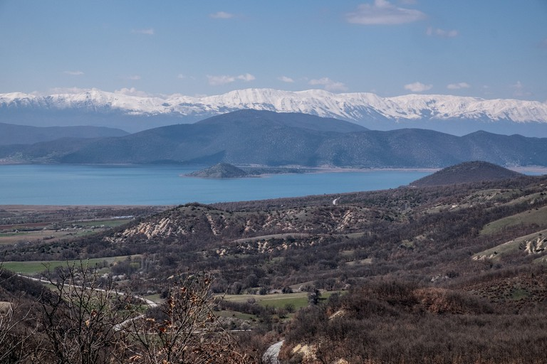 The view of Small Prespa Lake from Greece
