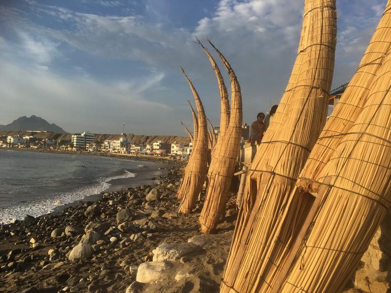 Huanchaco's caballitos de totora (reed boats)