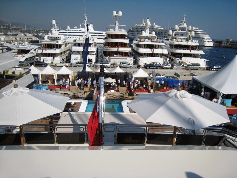 Mega yachts in Monaco harbour