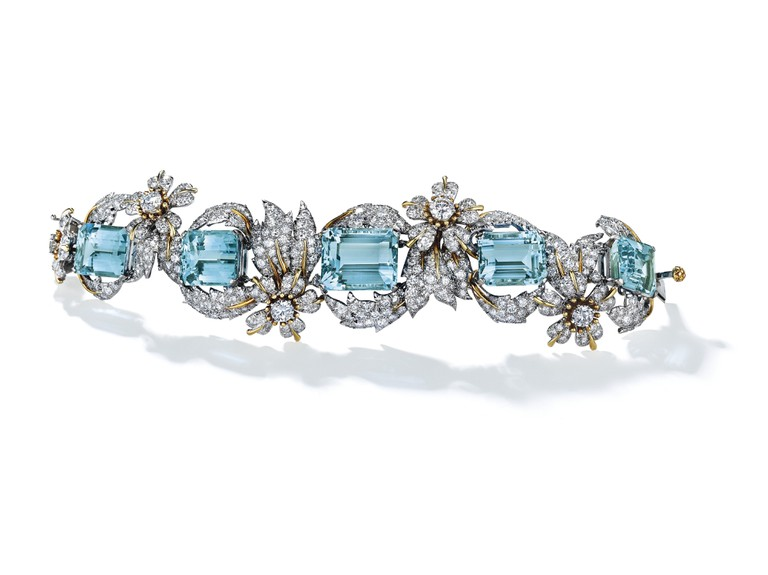 An aquamarine and diamond 'Leaves and Flowers' bracelet by Jean Schlumberger for Tiffany & Co.