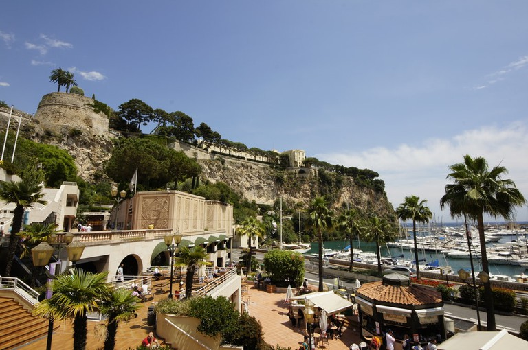 Port de Fontvieille of Monaco and the prince's palace of Monaco