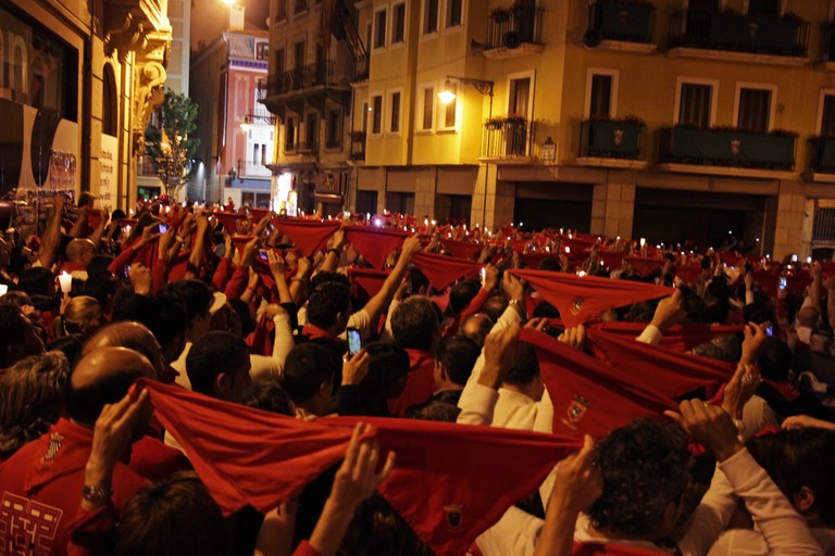 The closing song at the San Fermin Festival in Pamplona