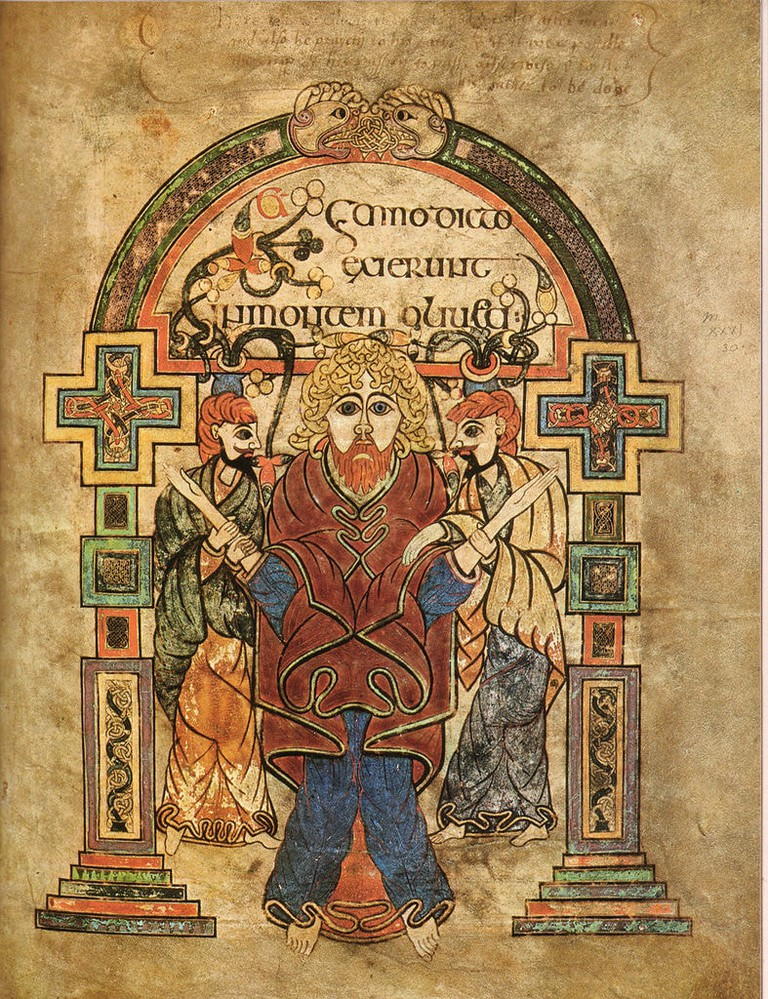 This beautifully illustrated folio from the Book of Kells shows some of the manuscript's calligraphy