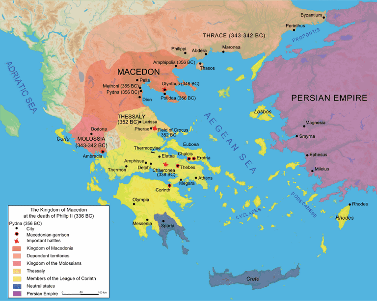 Map of the Kingdom of Macedon at the death of Philip II in 336 BC.