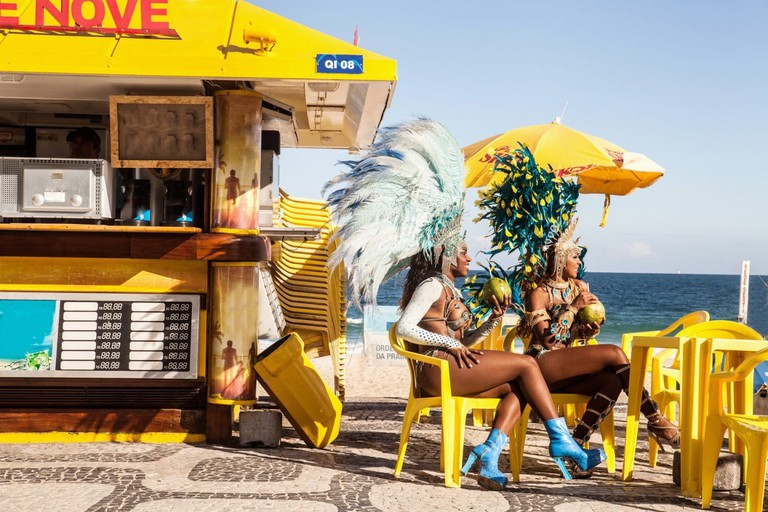 Samba dancers, Ipanema Beach, Rio De Janeiro, Brazil