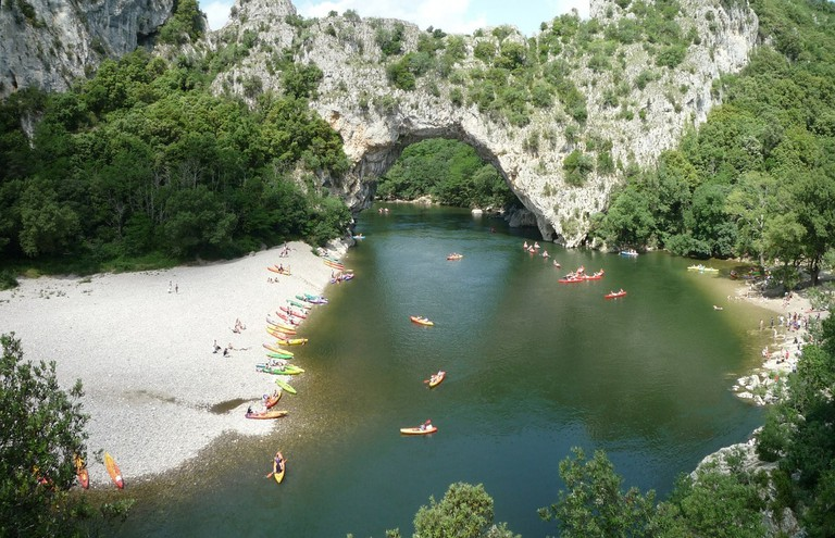 Kayaking on the Ardèche River under the Pont d'Arc