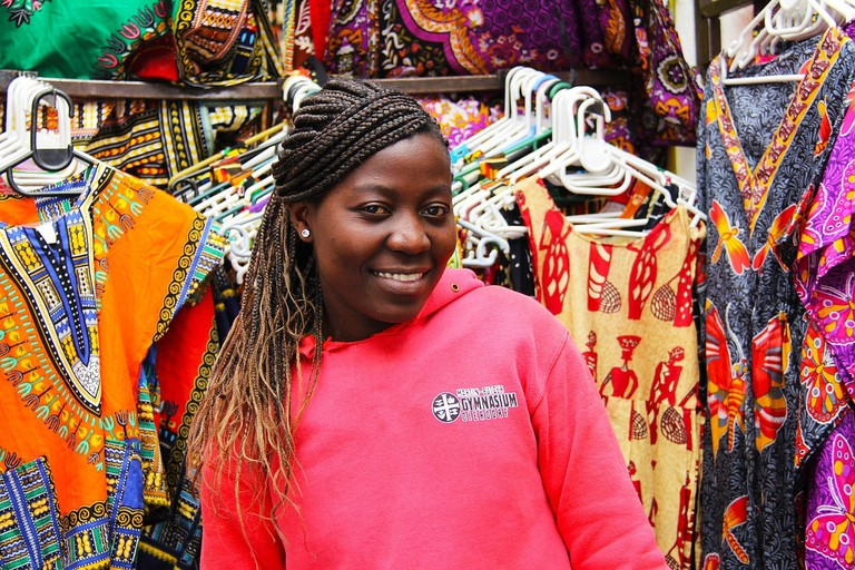 A lady spotted at a dashiki stall