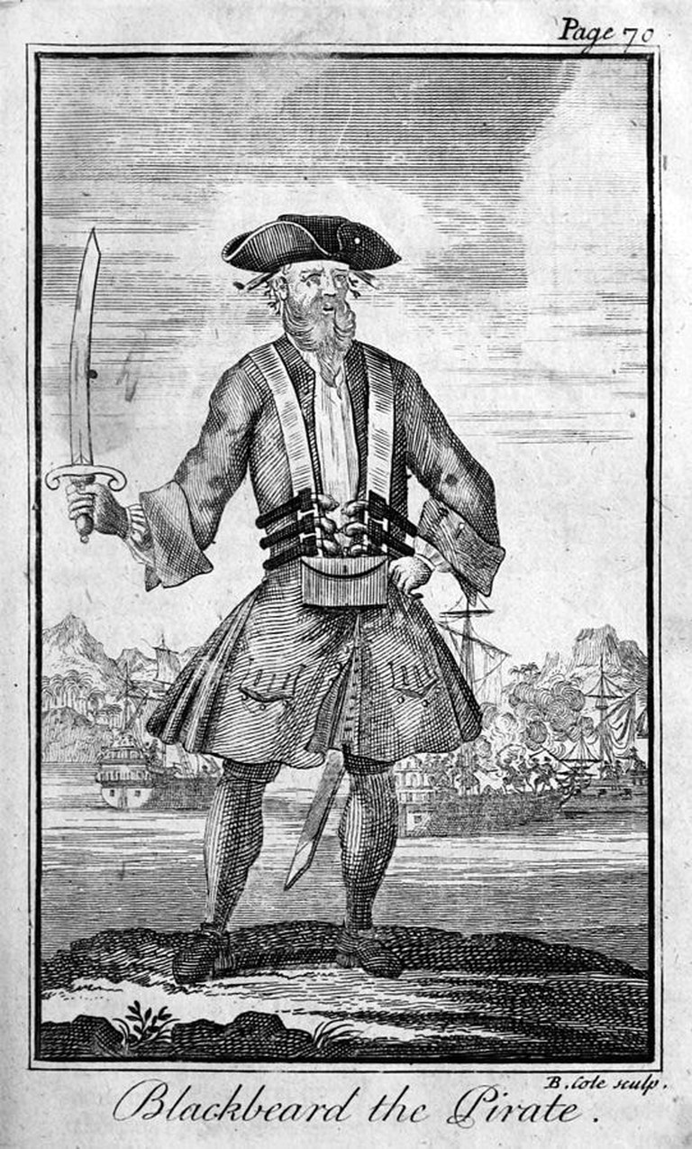 Blackbeard the Pirate, engraved by Benjamin Cole, in A General History of the Pyrates by Charles Johnson, 1724