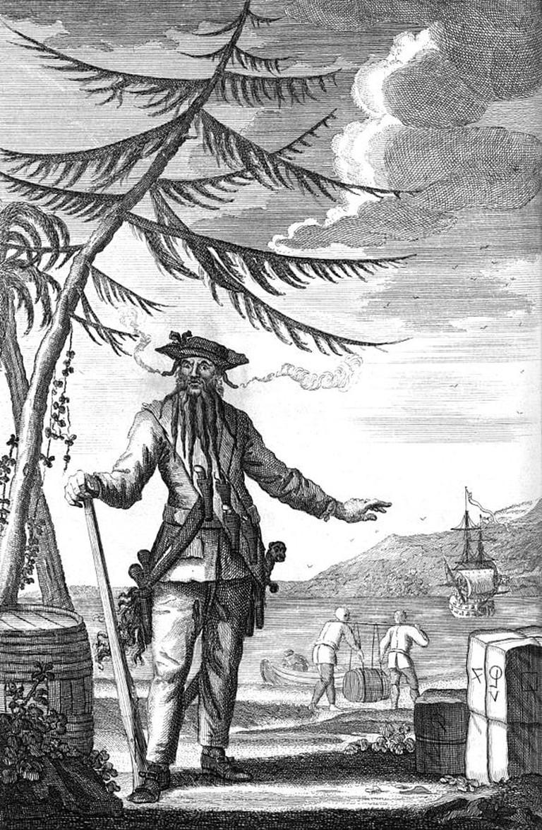 Engraving of Edward Teach alias Blackbeard the Pirate, 1736