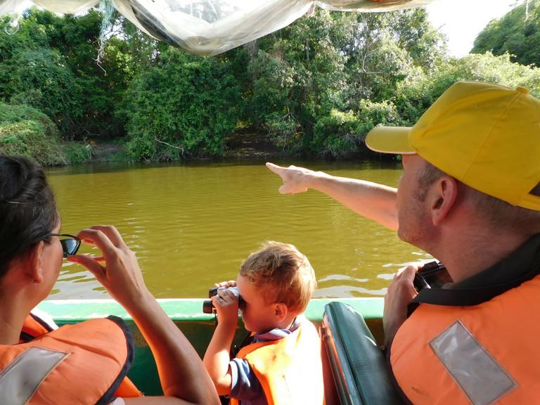 A family enjoys a boat safari